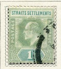 STRAITS SETTLEMENTS;  Early 1900s Ed VII issue 1c. fine used value