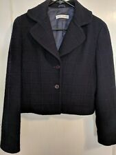 Emporio Armani Giacca Donna Jacket Wool Blazer Navy Blue Plaid - sz 40 IT (sz 4)