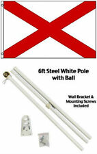 3x5 St. Patrick's Cross Flag White Pole Kit Gold Ball Top 3'x5'