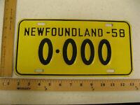 1958 58 NEWFOUNDLAND CANADA SAMPLE LICENSE PLATE 0-000