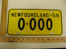 1958 58 NEWFOUNDLAND CANADA SAMPLE LICENSE PLATE 0-000