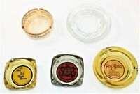 Lot Of Five Vintage Glass Ashtrays Advertising Casino Fast Free Shipping
