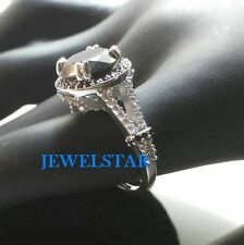 Certified New Attractive 5.30Ct Black Diamond 14K White Gold Engagement Ring Set