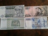 WORLD PAPER MONEY 1992 ZAIRE 100,000 Zaires + 3 *BANK NOTES* Collectibles