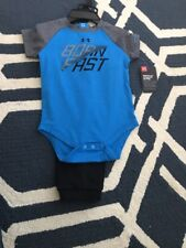 NWT under armour set- size 6/9months born fast black-blue