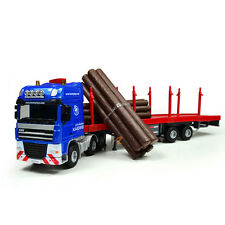 1:50 Log Transporter Alloy Diecast Engineering Toy Vehicle Car Model Blue Gift