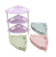 3 Tier Plastic Corner Shelf Unit Organizer Bathroom Basket Storage Rack Holder