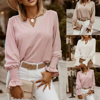 Women's V Neck Loose Blouse Tops Elastic Long Sleeve Casual Tee Shirt Size S-2XL