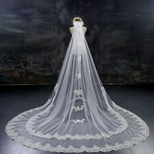 Two Tier Lace Bridal Wedding Veils Ivory Cathedral Long Bow-knot Bead Formal