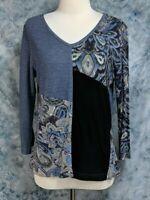 Parsley & Sage Womens sz M Black Blue Gray Patchwork Floral Paisley T Shirt Top