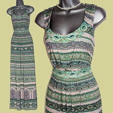 MONSOON Green Print Embroidered Neck Waist Casual Party Maxi Dress  UK12  EU40