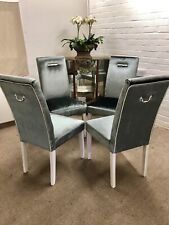 4 John Lewis Dining Chairs Newly Reupholstered in Luxury Laura Ashley Velvet