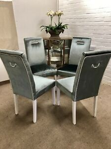 4 John Lewis Dining Chairs  Reupholstered in Luxury Laura Ashley silver Velvet