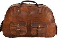 Men Large Capacity Leather Luggage Travel Shoulder Duffle Gym Tote Bag Handbag
