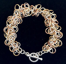Chainmaille Tri Colored Sassy Swirl of Rings Bracelet. 7 inches.