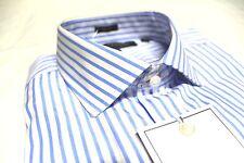 Mens Tommy Hilfiger Designer Dress Shirt 15.5 32/33 White Blue Stripe Slim Fit