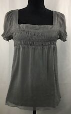 CHARLOTTE RUSSE GREY TANK TOP WITH MILD RUFFLES SIZE SMALL