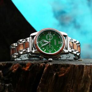 LeeEv WaterProof Steel & Wood Watch for Men Relogio Masculino Christmas Gift