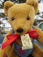"VINTAGE MOHAIR TEDDY BEAR GOLDEN ARTIST LYLE BIG SOFTIES ENGLAND 20"" BLUE DOLL V"