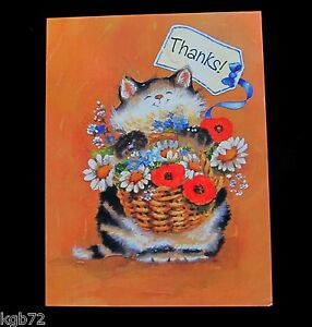 Leanin Tree Thank You Cat with Basket of Flowers Greeting Card Multi Color R299