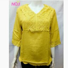 PLUS SIZE LACE BLOUSE - MUSTARD