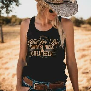 Cold Beer Ladies Black Singlet