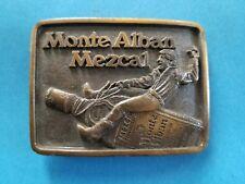 Vintage Monte Alban Mezcal Tequile Belt Buckle Barton Brands G.B. Frank Brass