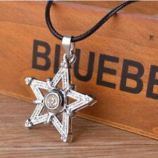 Necklace Charm Leather Chain Jewelry Fashion Women Men Metal Pentagram Pendant