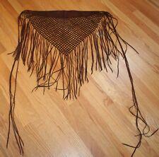 Wright's Burgundy Crochet Fringe Leather Shawl