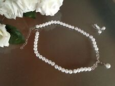 BRIDAL JEWELLERY SET WEDDING VINTAGE STYLE Pearl Crystal Necklace & Drop Earring