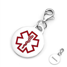 Diabetes Stainless Steel Round Medical Alert Charm 3/4 Inch - CR1237