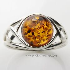 GENUINE BALTIC AMBER 925 STERLING SILVER RING SIZE 6