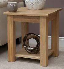 Eton solid oak contemporary furniture side lamp table with shelf