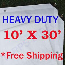 10' x 30' Heavy Duty Waterproof White Tarp- Shade Canopy Boat ATV Woodpile Cover