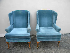 Pair of Queen Anne Side by Side Wing Chairs by Rowe 2695A