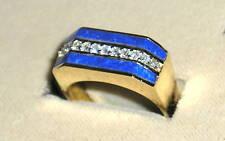 SOLID     14K Gold    LAPIS    DIAMOND   Ring