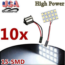 10x White 5050 15SMD Panel Led RV Interior Dome Light Bulb + 1156 BA15S Adapters