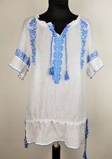 Ladies Vtg 90s Gypsy Boho Folk Peasant Hippie Blue Embroidered White Top 6-10