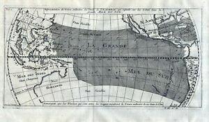 1750 Wind Weltkarte world map Pacific Ocean Kupferstich antique print Bellin