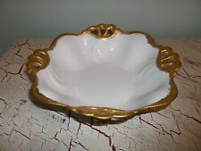 Vintage Footed White Serving Bowl w/Gold Trim