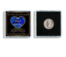 Personalised Grandad Birthday Lucky Sixpence Keepsake & Display Case Gift W147