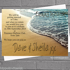 Beach Wedding Evening Day Reception writing in sand Invitations x12 +env H0254