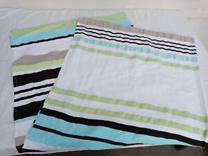 "Kate Spade 100% Cotton Shower Curtain Tab Top Stripe White/Blue/Green 72"" x 72"""