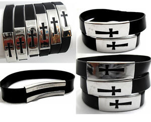 50x CROSS Stainless Steel plate Silicone Bracelets Wristbands Wholesale Bangles