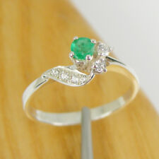 Natural Emerald and CZ Gemstone Claw Dress Ring Genuine 925 Sterling Silver