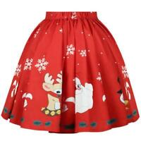 Women's Christmas Skirt Elk Santa Claus Snowflake Print A Line Skirt Knee-Length