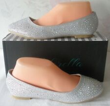 Ballet Flat Shoes AB Crystal Embellished Silver Shoes Size 7.5 Adorella NIB
