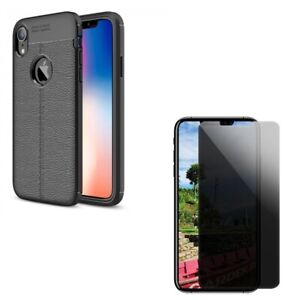 Slim Fit Case Cover w Tempered Glass Privacy Screen Protector for iPHONE XR