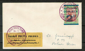 Poland Field Post in Great Britain Postage Dues Stamp on Letter #4195