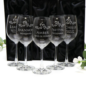 5 x Personalised Wine Glasses 360ml Engraved Glass Wedding Gift Bridesmaid Favor